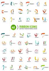 Vector line ribbon logo set