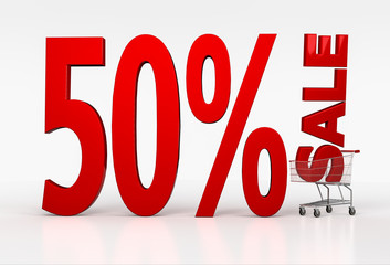 50% off discount. 3d red letters in shopping cart. 3D render