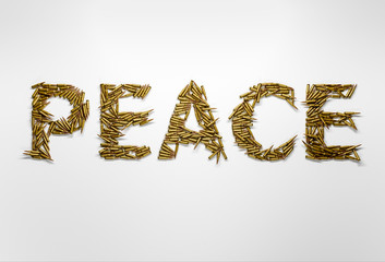 Concept of peace. Word Peace typed with font made of bullets