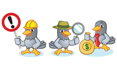 Pigeon Mascot Vector with money