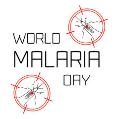 World Malaria Day concept with mosquitoes in targets. Mosquito on red target. Mosquito warning. Malaria awareness sign. Malaria transmission.  Malaria solidarity day. Vector illustration.