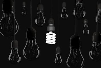 Energy saving bulb lighting black room with incandescent bulb ha