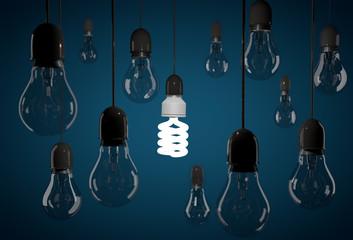 One energy saving bulb lighting dark incandescent light bulb han
