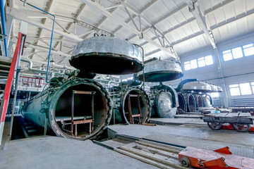 factory premises with opened autoclaves for concrete blocks production