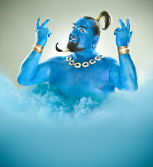 genie of the lamp with smoke isolated on grey