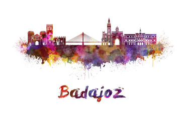 Wall Mural - Badajoz skyline in watercolor