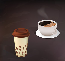 Different types of the coffee in cups