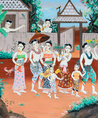 Thai mural painting of Thai Buddhist New Year festival in the pa