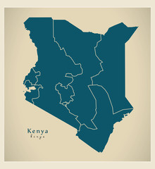 Modern Map - Kenya with provinces KE