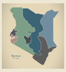 Modern Map - Kenya with provinces colored KE