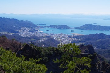 小豆島の港を俯瞰