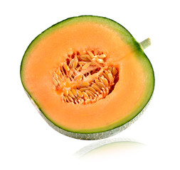 Ripe cantaloupe melon on white background