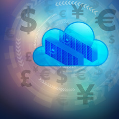 FinTech (financial technology) and cloud computing, foreign exchange, abstract image visual