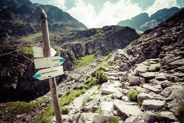 Direction sign on mountain trail, High Tatras, Poland