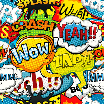 Multicolored comics speech bubbles seamless pattern