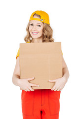 post, package and delivery concept - smiling woman wearing yello