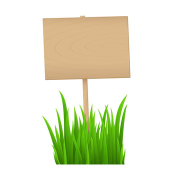 Empty wooden sign with fresh green grass isolated on white background with copy space for your text.