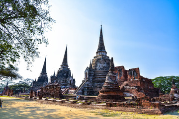 Ancient wall of Wat Phra Sri Sanphet the world heritage site in ayutthaya, Thailand