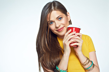 Close up face portrait smiling girl holding coffee cup.