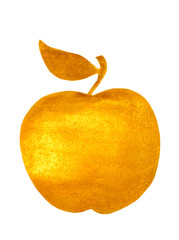 Golden hand-painted apple on white background, vector  illustration