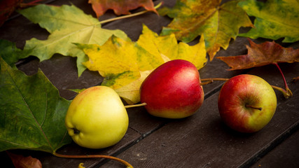 Autumn leaves and apples over wooden background