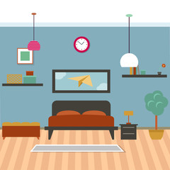 Modern bedroom interior vector for your ideas