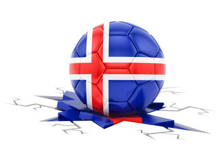 3d rendering of a soccer ball with flag of Iceland, isolated on white