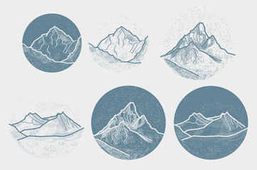 Vector Mountains Tattoo. Blackwork, dot work, hipster, geometry.