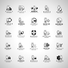 Nurse And Medical Workers Icons Set-Isolated On Gray Background-Vector Illustration,Graphic Design.Collection Of Professional Medical Persons, Physician, Chemist. Hospital Staff, Thin Line
