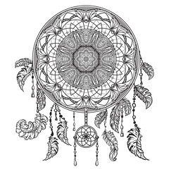 Dream catcher with ornament. Tattoo art. Design concept for banner, card, scrap booking, t-shirt, bag, print, poster.Highly detailed vintage black and white hand drawn vector illustration