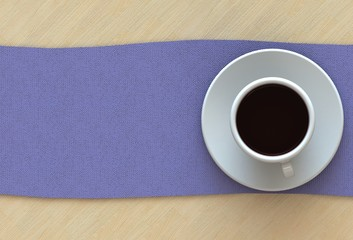 3D rendering coffee cup with purple fabric on wood table