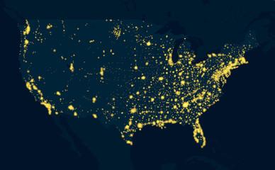 Night Map United States of America