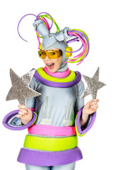 Fancy Dress Party. Woman in Futuristic Glasses and Creative Meta