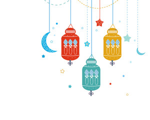 Ramadan Kareem with Lamps, Crescents and Stars. Traditional lantern of Ramadan vector