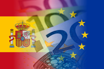 spain and eu flags with euro banknotes