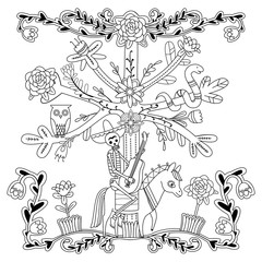 Adult coloring page with flowers, skeleton, horse, tree, owl, and snake. Mexican pattern. Traditional Mexican style. Vector illustration.