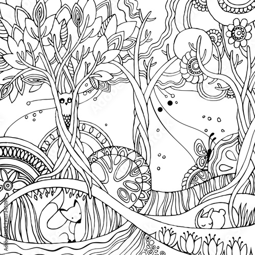 Adult Coloring Page With Forest Fox Owl Rabbit Butterfly Trees