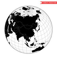 China globe hemisphere. World view from space icon.