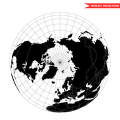 Arctic pole globe hemisphere. World view from space icon.