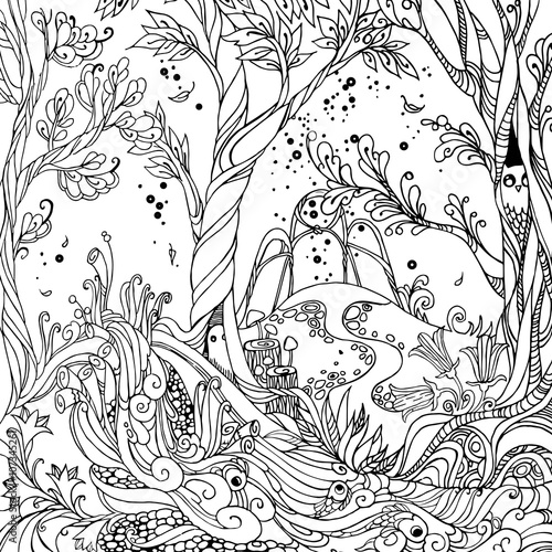 fairy forest   adult coloring page vector illustration