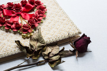Love diary and Roses wilt on white canvas background
