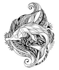 Hammerhead Shark - tattoo design. Hammerhead Shark - Adult coloring page. Shark Isolated on white background. Vector illustration.