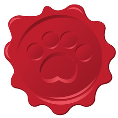 Pet paw print official wax stamp. Seal of pet approval.