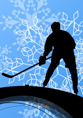 Active young man hockey player sport silhouette in seasonal ice