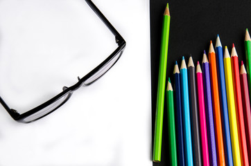 eye glasses with colour pencils homework creative