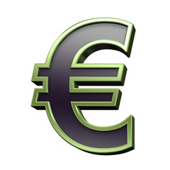 Euro sign from black with green shiny frame alphabet set, isolated on white. 3D illustration.