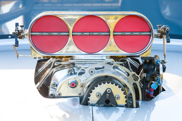 powerful motorsport vehicle engine closeup