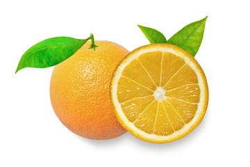 Orange fruit with leaves isolated on white background