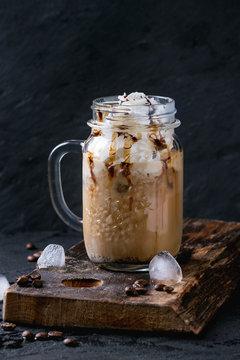 Ice coffee with cream