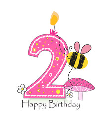 Happy second birthday candle. Baby girl greeting card with bee and daisy vector background